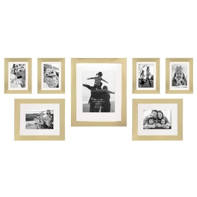 7pc Decorative Stamped Photo Frame Set Gold - Stonebriar Collection