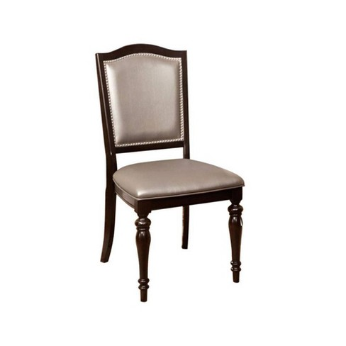 Set of 2 Transitional Side Chairs with PVC Brown - Benzara - image 1 of 4