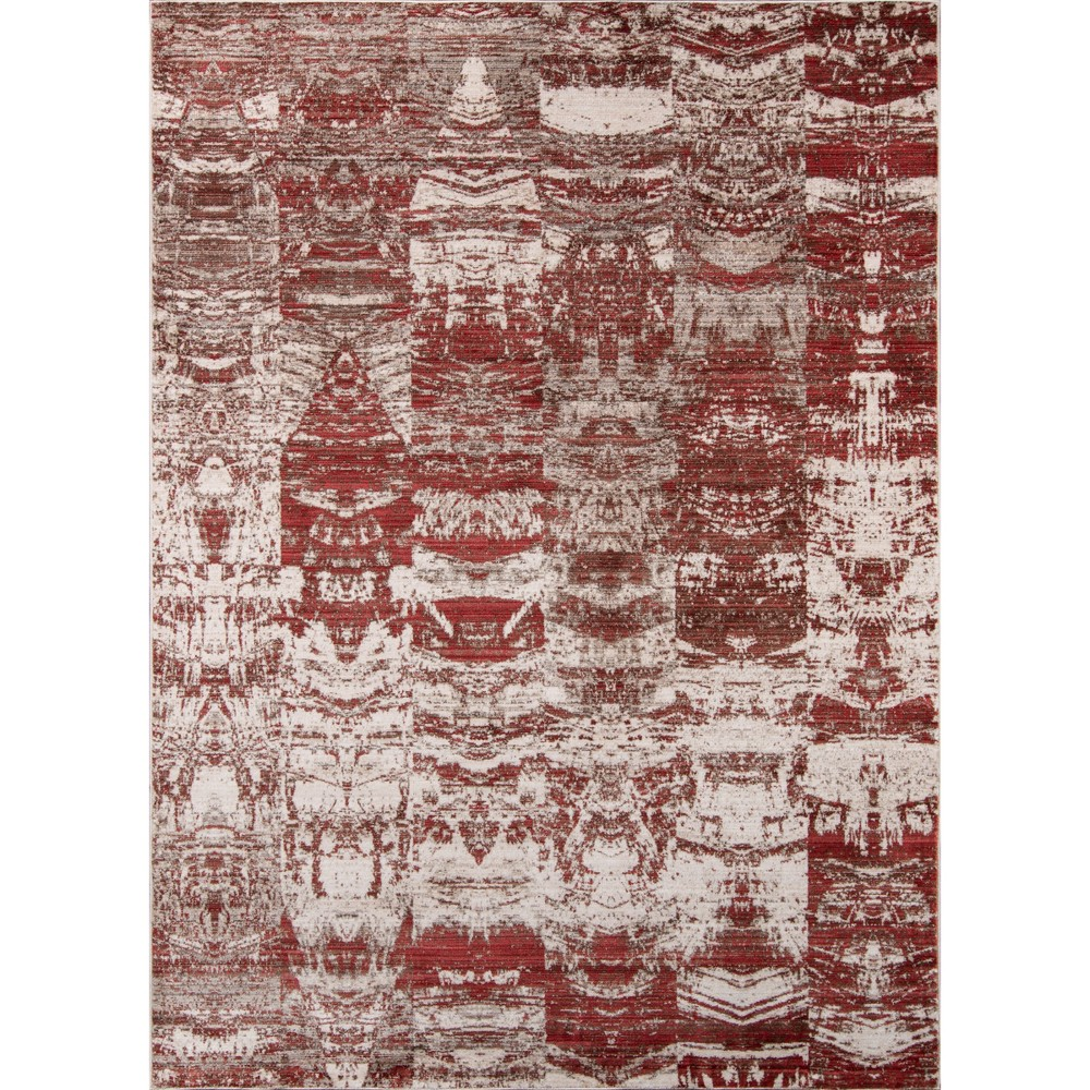 Red Shapes Loomed Accent Rug 3'3