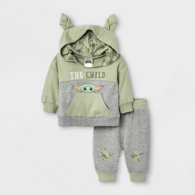 Baby Boys' 2pc Star Wars Baby Yoda French Terry Pullover and Jogger Set - Green