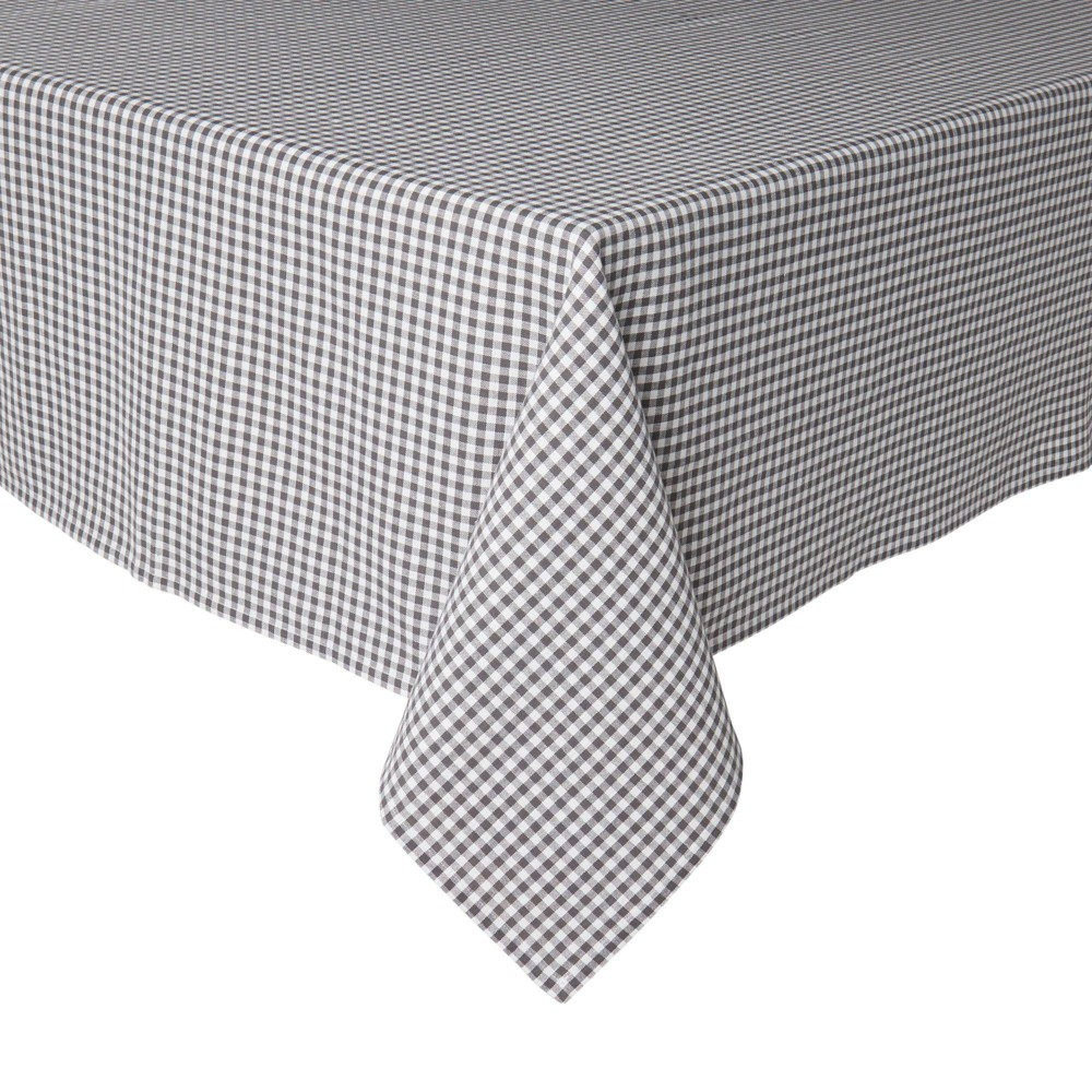 "Image of ""102"""" x 60"""" Cotton Gingham Woven Tablecloth Gray - Town & Country Living"""