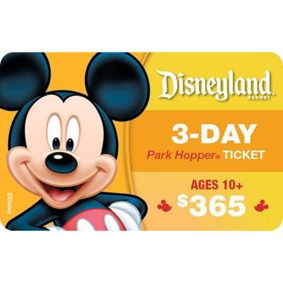 Disneyland Resort 3-Day Park Hopper, Ticket Ages 10+ $365 (Email Delivery)