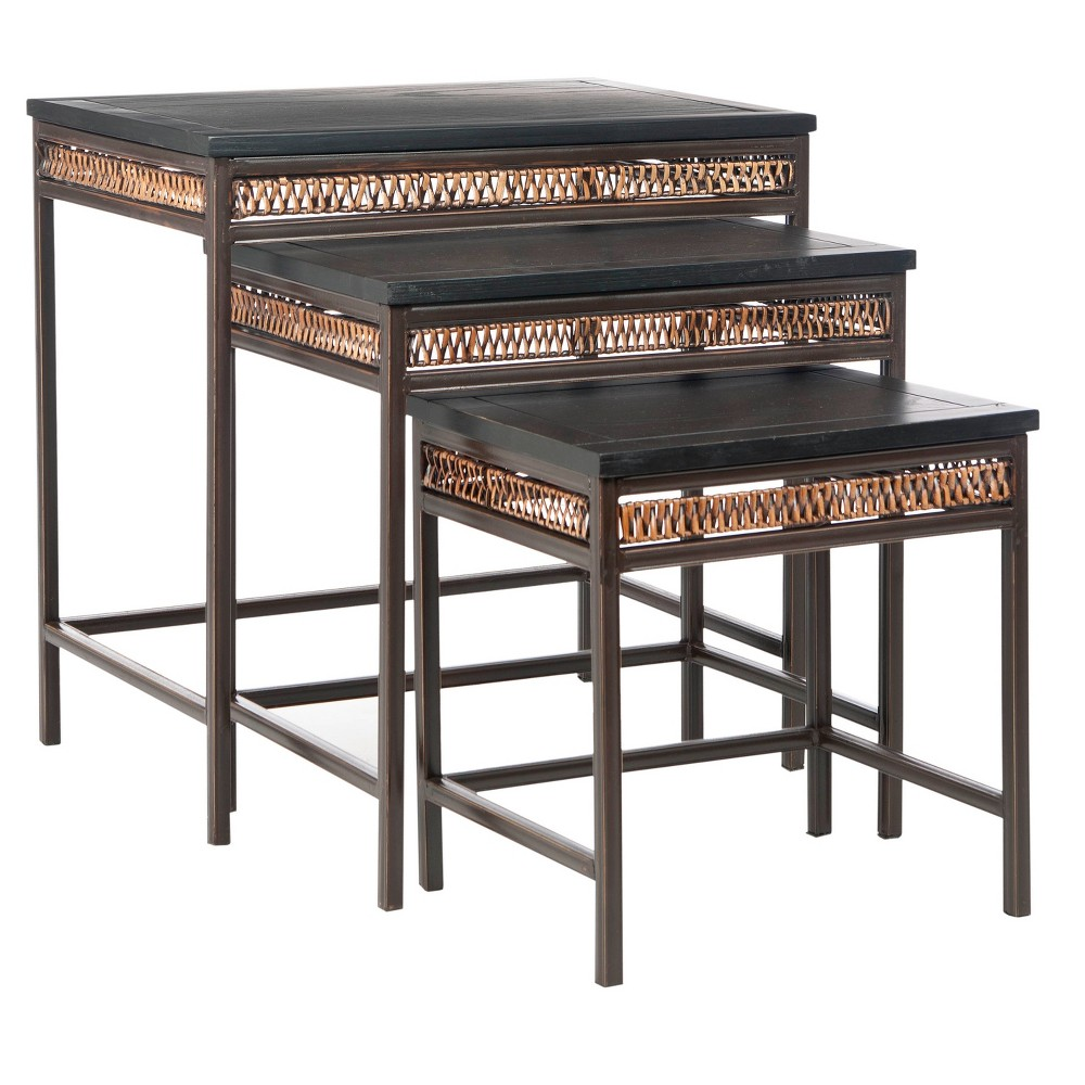 Zuni Accent Table Black/Walnut (Brown) - Safavieh