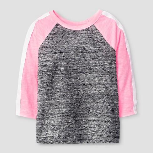 0a3cd9b1b07 Toddler Girls  3 4 Sleeve Raglan T-Shirt - Cat   Jack™ Black Pink 4T ...