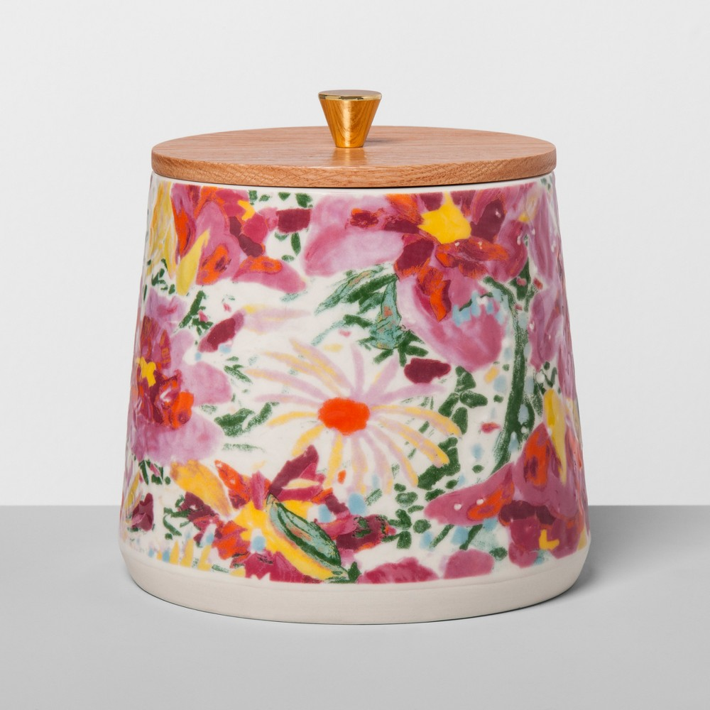 Floral Stoneware Canister with Wood Lid L Pink - Opalhouse, Multicolored