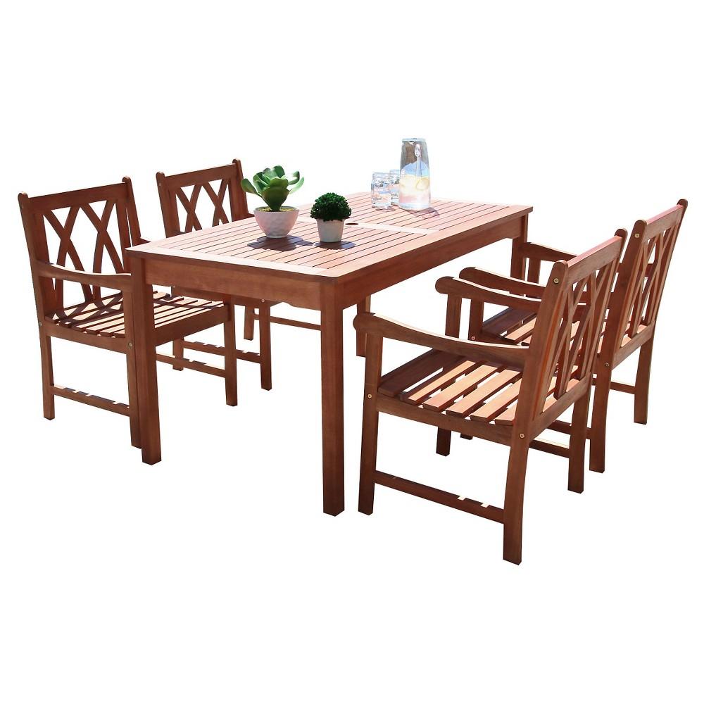 Malibu 5pc Rectangle Eco-friendly Hardwood Outdoor Dining Set - Natural - Vifah, Wood