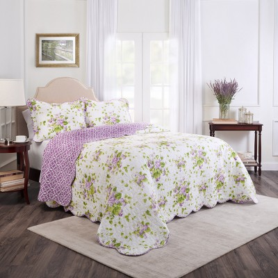3pc King Floral Sweet Violets Bedspread Set Purple- Waverly