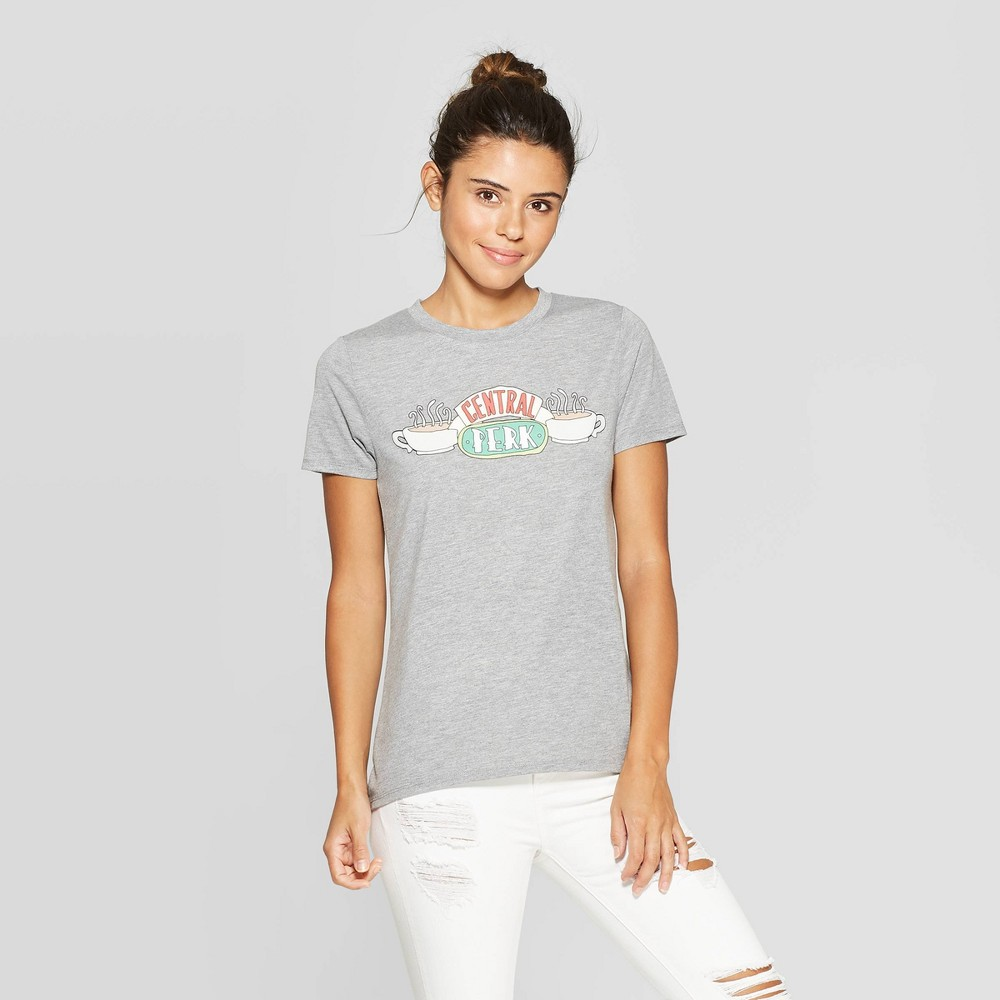 Image of Women's Friends Central Perk Short Sleeve Graphic T-Shirt (Juniors') - Heather Gray L, Size: Large