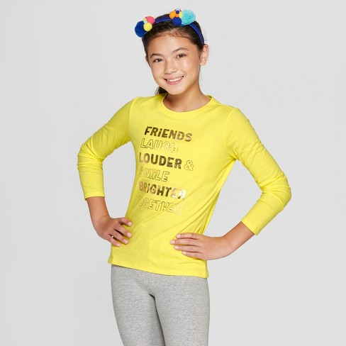 Girls' Long Sleeve Friends Graphic T-Shirt - Cat & Jack™ Yellow - image 1 of 3