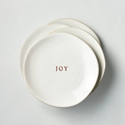 4pk 'Joy' Stoneware Appetizer Plate Set Red/Sour Cream - Hearth & Hand™ with Magnolia