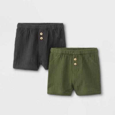 Baby 2pk Gauze Jersey Pull-On Shorts - Cat & Jack™ Charcoal Gray/Olive