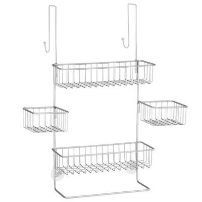 Over The Door Shower Caddy Bathroom Metal Storage Organizer Rack Chrome Finish