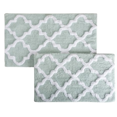 2pc Trellis Bath Mat Set Seafoam - Yorkshire Home