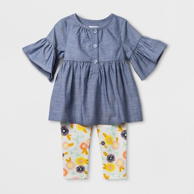 Baby Girls' Short Sleeve Chambray Henley Tunic with Fleece Leggings Set - Cat & Jack™ Blue 3-6M