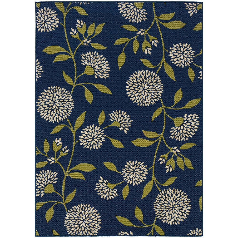 Cozumel Floral Patio Rug Blue/Green