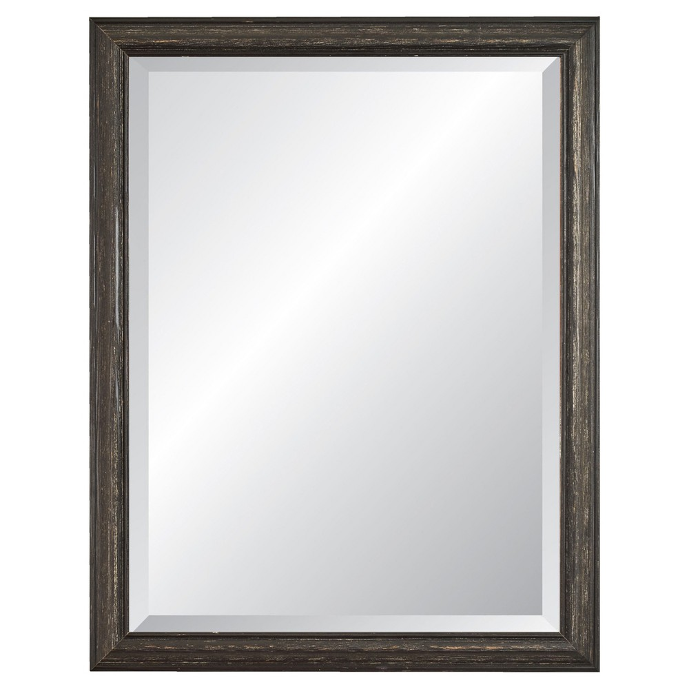 """Image of """"27"""""""" x 39"""""""" Savannah Brushed Black Framed Beveled Glass Wall Mirror - Alpine Art and Mirror"""""""