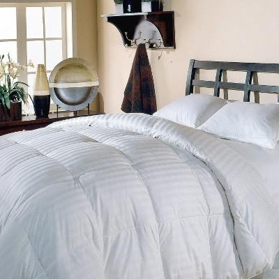 Blue Ridge Supreme Cotton Damask Stripe White Down Alternative Comforter 350 Thread Count