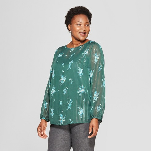 ee56f90d032 Women s Plus Size Floral Print Long Sleeve Chiffon Blouse with Cami - Ava    Viv™ Dark Green
