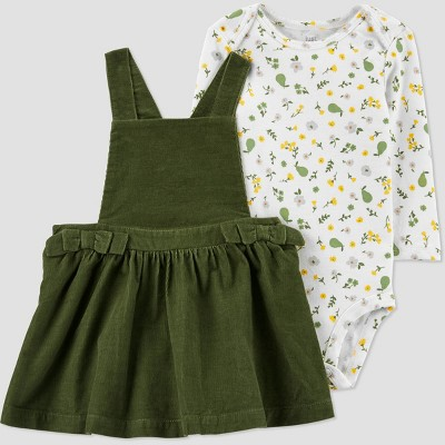 Baby Girls' Floral Skirtall Top & Bottom Set - Just One You® made by carter's Olive 6M