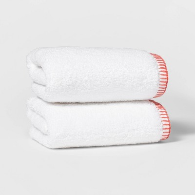 2pk Whip Stitch Border Hand Towel Set Coral - Threshold™