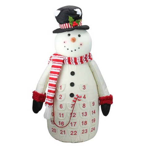 Melrose 24 5 Red And White Plush Snowman Christmas Countdown Table Top Figure Target