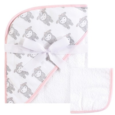 Hudson Baby Infant Girl Cotton Hooded Towel and Washcloth 2pc Set, Little Lamb, One Size