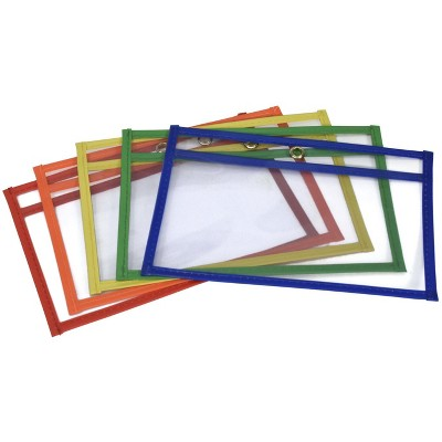 School Smart Reusable Dry Erase Pockets, 6 x 9 Inches, Assorted, set of 10