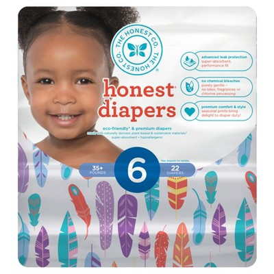 Honest Company Diapers, Painted Feathers - Size 6 (22ct)