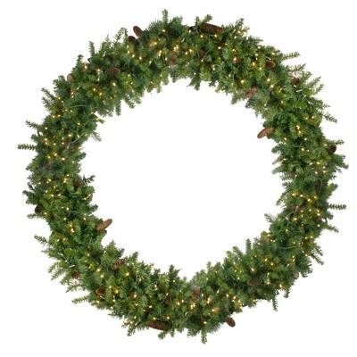 Northlight Pre-Lit Dakota Pine Artificial Christmas Wreath - 72-Inch, Warm White LED Lights