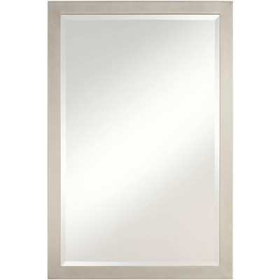 "Possini Euro Design Metzeo 33"" x 22"" Brushed Nickel Wall Mirror"