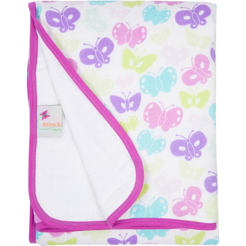 Image of MiracleWare Butterflies Muslin Baby Blanket