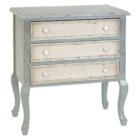Wood Distressed Finish 3 Drawer Chest Green/White - Olivia & May - image 1 of 4