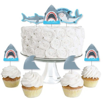 Big Dot of Happiness Shark Zone - Dessert Cupcake Toppers - Jawsome Shark Viewing Week Party or Birthday Party Clear Treat Picks - Set of 24