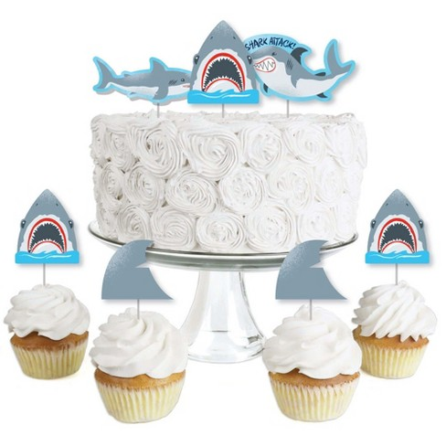 Big Dot of Happiness Shark Zone - Dessert Cupcake Toppers - Jawsome Shark Viewing Week Party or Birthday Party Clear Treat Picks - Set of 24 - image 1 of 4