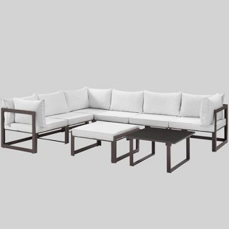 Fortuna 8pc Outdoor Patio Sectional Sofa Set - White - Modway