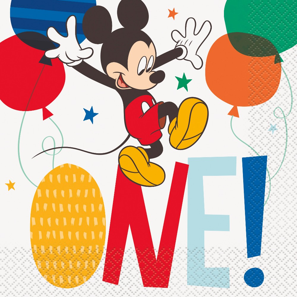 Mickey Mouse 1st Birthday Lunch Napkin, Multi-Colored