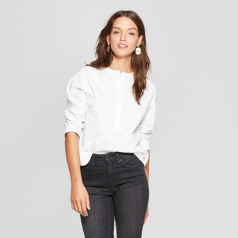 0e8ab96e Women's Long Sleeve Half Button-Down Shirt - Universal Thread™ White :  Target