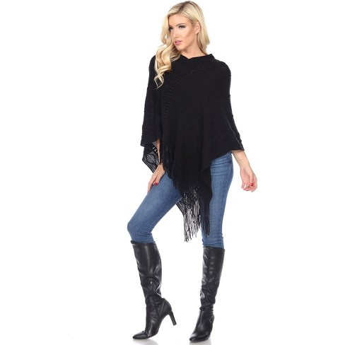 White Mark Womens Relaxed Fit Three Quarter Sleeve V Neck Shawl Sweater - Black One Size Fits Most - image 1 of 3