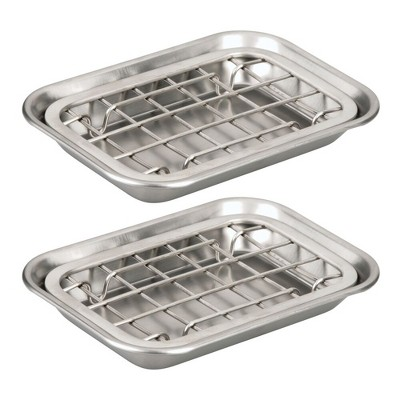 mDesign Kitchen Soap Dish Tray - Drainage Grid & Holder, 2 Pack