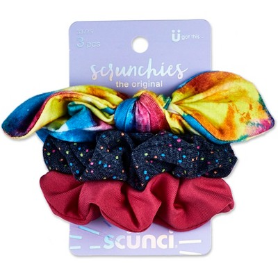 Scunci Rainbow Bow And Solid Scrunchies - 3pk