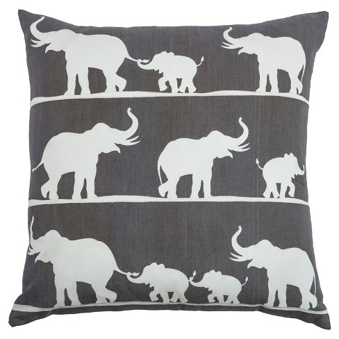 """Charcoal/White Marching Elephants Throw Pillow (20""""x20"""") - Rizzy Home - image 1 of 3"""