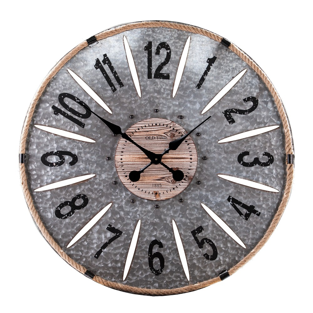 "Image of ""Aiden Lane 28""""x28"""" Gillion Industrial Raw Wood and Galvanized Metal Decorative Wall Clock Brown"""