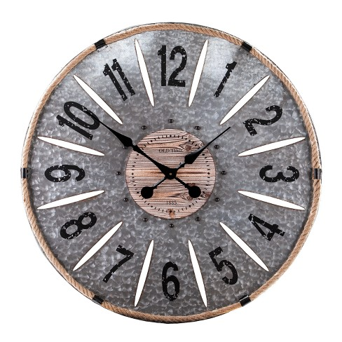 "Aiden Lane 28""x28"" Gillion Industrial Raw Wood and Galvanized Metal Decorative Wall Clock Brown - image 1 of 8"