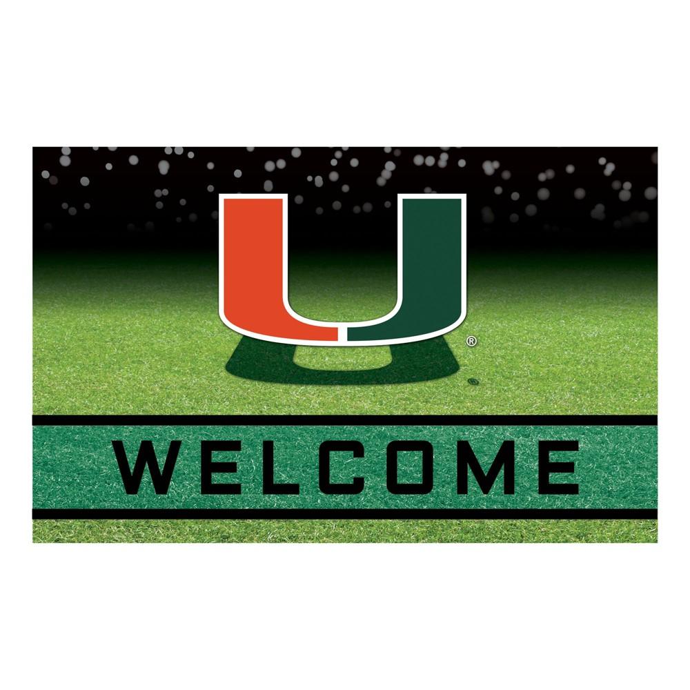 NCAA Miami Hurricanes Crumb Rubber Door Mat 18