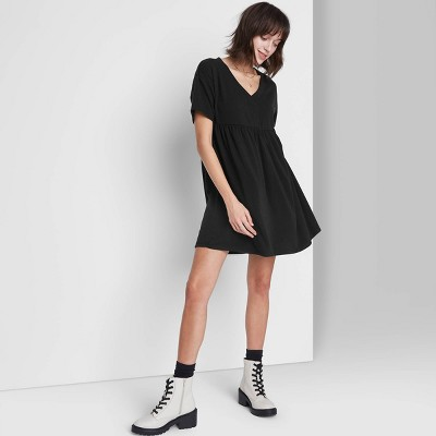 Women's Short Sleeve Babydoll Sweatshirt Dress - Wild Fable™