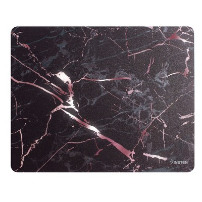 INSTEN Ultra Thin Reflective Anti-Slip Marble Mouse Pad, Black/ Rose Gold Marble