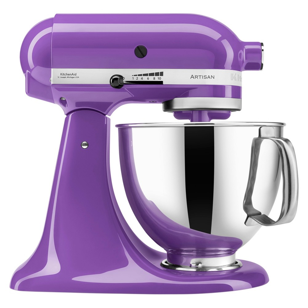 KitchenAid Artisan Series 5qt Tilt-head Stand Mixer - Grape (Purple) KSM150 Make up to 9 dozen cookies in a single batch with the KitchenAid Artisan Series 5 Quart Tilt-Head Stand Mixer. This mixer also features 10 speeds to thoroughly mix, knead and whip ingredients quickly and easily and is available in a variety of colors to perfectly match your kitchen design or personality. For even more versatility, use the power hub to turn your stand mixer into a culinary center with over 10 optional hub powered attachments, from food grinders to pasta makers and more. Color: Grape.