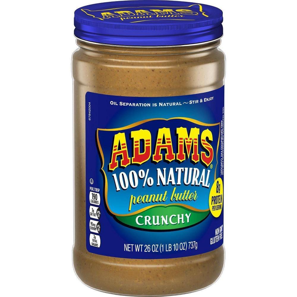 Adams Peanut Butter 100 Natural Crunchy Peanut Butter 26oz