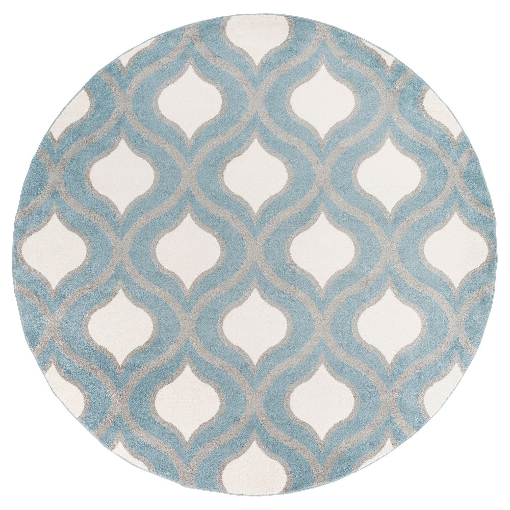 Blue Abstract Tufted Round Area Rug - (7'10 Round) - Surya
