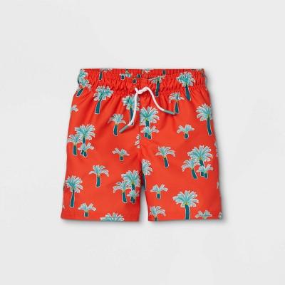 Toddler Boys' Palm Print Swim Trunks - Cat & Jack™ Orange